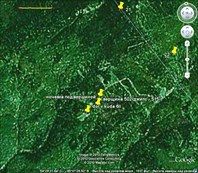 фото из google earth с точками маршрута, желтый отрезок=1 км